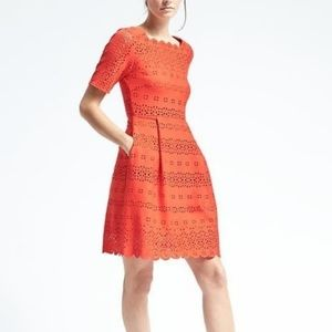 Banana Republic Orange Laser Cut Eyelet Dress